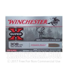 Winchester Super-X 308 Winchester Ammunition - 200 Rounds of 180 grain PP