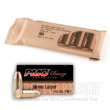 PMC Battle Pack 9mm Luger Ammunition - 300 Rounds of 115 Grain FMJ