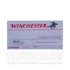 Winchester USA 357 Magnum Ammunition - 500 Rounds of 110 Grain JHP