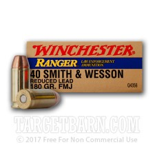 Winchester Ranger 40 S&W Ammunition - 500 Rounds of 180 Grain FMJ Reduced Lead