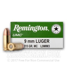 Remington UMC 9mm Luger Ammunition - 50 Rounds of 115 Grain MC