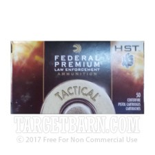 Federal Premium Law Enforcement 9mm Luger Ammunition - 50 Rounds of +P 124 Grain HST JHP