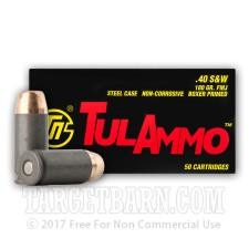 Tula 40 S&W Ammunition - 500 Rounds of 180 Grain FMJ