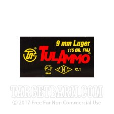 Tula 9mm Luger Ammunition - 50 Rounds of 115 Grain FMJ