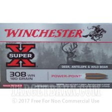 Winchester Super-X 308 Winchester Ammunition - 20 Rounds of 180 grain PP