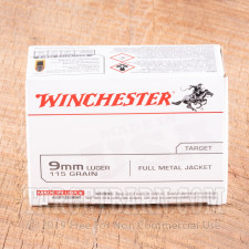 Winchester 9mm Ammunition - 100 Rounds of 115 Grain FMJ