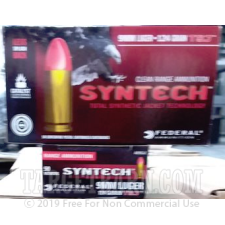 Federal Syntech 9mm Ammunition - 50 Rounds of 124 Grain Total Synthetic Jacket Round Nose