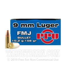 Prvi Partizan 9mm Luger Ammunition - 1000 Rounds of 158 Grain FMJ