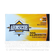 Armscor 223 Remington Ammunition - 20 Rounds of 55 Grain FMJ