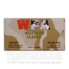 Wolf WPA Military Classic 380 ACP Ammunition - 50 Rounds of 94 Grain FMJ