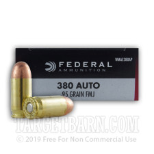 Federal Champion 380 ACP Ammunition - 50 Rounds of 95 Grain FMJ
