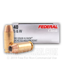 Federal Classic 40 S&W Ammunition - 1000 Rounds of 180 Grain Hi-Shok JHP