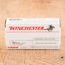 Winchester 9mm Luger Ammunition - 50 Rounds of 115 Grain JHP