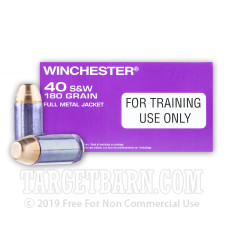 Winchester 40 S&W Ammunition - 500 Rounds of 180 Grain FMJ
