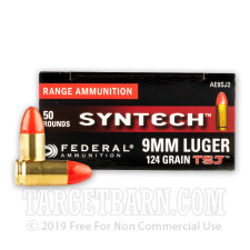Federal Syntech 9mm Ammunition - 500 Rounds of 124 Grain Total Synthetic Jacket Round Nose