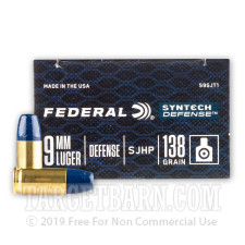 Federal Syntech Defense 9mm Ammunition - 200 Rounds of 138 Grain SHP
