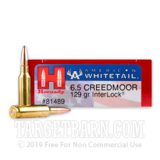 Hornady American Whitetail 6.5 Creedmoor Ammunition - 20 Rounds of 129 Grain InterLock
