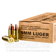 Remington MIL / LE Contract Overrun 9mm Ammunition - 50 Rounds of 115 Grain FMJ