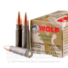 Wolf WPA Military Classic 7.62x39 Ammunition - 1000 Rounds of 124 Grain FMJ