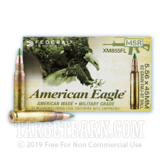Federal American Eagle 5.56x45 Ammunition - 20 Rounds of 62 Grain FMJBT XM855