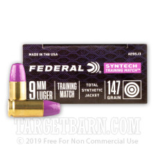 Federal Syntech Training Match 9mm Ammunition - 500 Rounds of 147 Grain Total Synthetic Jacket FN