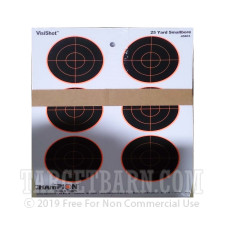 VisiShot 25 Yard Smallbore Target - Six 3 Inch Bullseyes - Orange Reactive - Champion - 10 Count