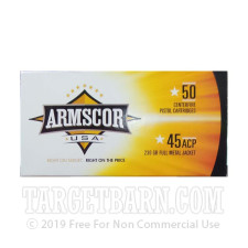 Armscor USA 45 ACP Ammunition - 1000 Rounds of 230 Grain FMJ