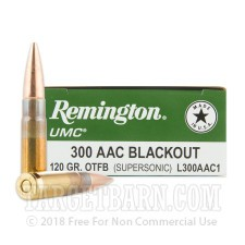 Remington UMC 300 AAC Blackout Ammunition - 20 Rounds of 120 Grain OTFB