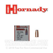 "Hornady .222"" Bullets - 100 Bullets of 40 Grain SP"
