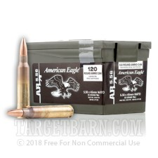 Federal American Eagle 5.56 NATO Ammunition - 120 Rounds of 55 Grain FMJ