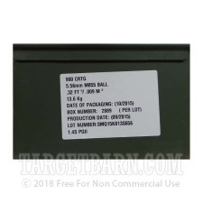 Federal Lake City 5.56x45 Ammunition - 1800 Rounds of 62 Grain FMJ Green Tip