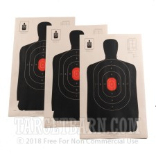 B-34 RC Paper Targets - 25 Yd Police Silhouette - Red - 100 Count
