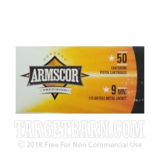 Armscor 9mm Luger Ammunition - 50 Rounds of 115 Grain FMJ