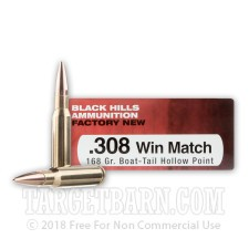 Black Hills 308 Winchester Ammunition - 20 Rounds of 168 Grain BTHP