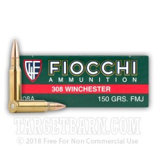 Fiocchi 308 Winchester Ammunition - 20 Rounds of 150 Grain FMJ