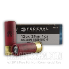 "Federal Power-Shok 12 Gauge Ammunition - 250 Rounds of 2-3/4"" 1 oz. Rifled Slug"
