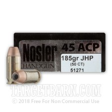 Nosler Match Grade 45 ACP Ammunition - 50 Rounds of 185 Grain JHP