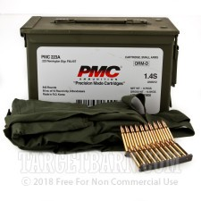 PMC 223 Remington Ammunition - 840 Rounds of 55 Grain FMJ Boat Tail on Stripper Clips in Ammo Can
