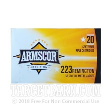 Armscor 223 Remington Ammunition - 1000 Rounds of 55 Grain FMJ