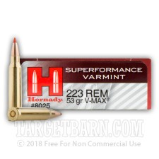 Hornady Superformance Varmint 223 Remington Ammunition - 200 Rounds of 53 Grain V-Max