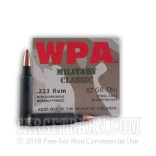 Wolf WPA Military Classic 223 Remington Ammunition - 20 Rounds of 62 Grain FMJ