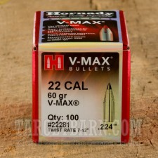 ".224"" Hornady 223 Remington Bullets - 100 Qty - 60 Grain V-Max Polymer Tip"