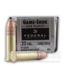 Federal Game-Shok 22 LR Ammunition - 100 Rounds of 40 Grain Lead Round Nose
