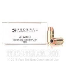Federal 45 ACP Ammunition - 1000 Rounds of 185 Grain High-Shok JHP