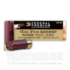 "Federal Law Enforcement Tactical 12 Gauge Ammunition - 5 Rounds of 2-3/4"" 00 Buckshot"