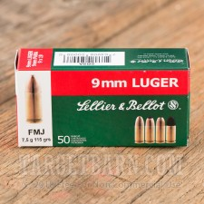 Sellier & Bellot 9mm Luger Ammunition - 50 Rounds of 115 Grain FMJ