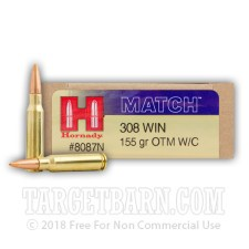Hornady Match 308 Winchester Ammunition - 20 Rounds of 155 Grain OTM