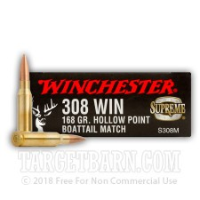 Winchester Supreme Match 308 Winchester Ammunition - 20 Rounds of 168 Grain HPBT