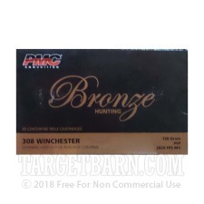 PMC Bronze 308 Winchester Ammunition - 20 Rounds of 150 Grain PSP