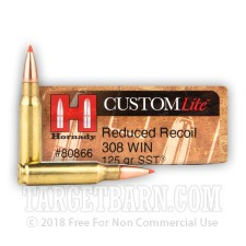 Hornady Custom Lite 308 Winchester Ammunition - 200 Rounds of 125 Grain SST